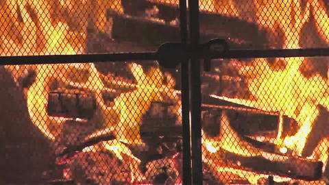 Fire Flames And Burning Wood Logs In Fireplace stock footage
