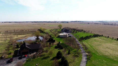 Aerial View Of Farmland In Illinois Corn Belt In A stock footage