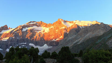 Sunrise in the mountains. Time Lapse, Pamir, Tajik Footage