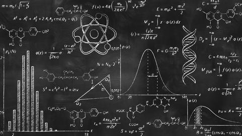 Writing Scientific Formulas On Black Chalkboard stock footage