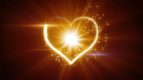 shiny heart shape yellow light streaks loopable Animation