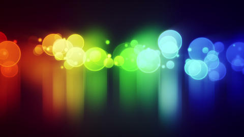 colorful circle lights with reflections loop backg Animation