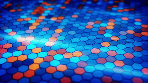 blinking blue orange hexagons loopable background Animation