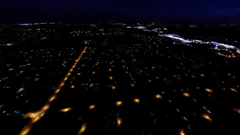 Aerial night view of residential suburban neighbor Footage