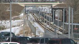 HD2009-3-2-23 LRT train fish creek Stock Video Footage