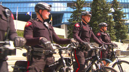 HD2009-5-6-1 bike cops Stock Video Footage