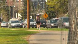 HD2009-5-7-17 fitness vs traffic Stock Video Footage
