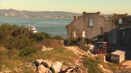 HD2009-11-1-16 boat passes Alcatraz ruins Stock Video Footage