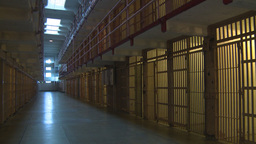 HD2009-11-1-38 Alcatraz prison cells pan tilt Stock Video Footage