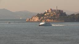 HD2009-11-2-3 Alcatraz islandand high speed cat ferry Stock Video Footage