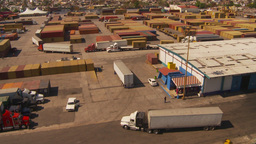 HD2009-11-3-9 conatinor port and trucks Stock Video Footage