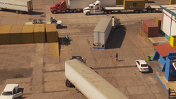 HD2009-11-3-11 containor port and trucks Footage