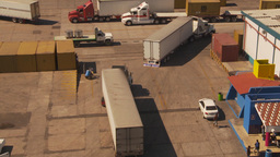 HD2009-11-3-11 containor port and trucks Stock Video Footage