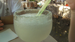 HD2009-11-3-23 drinking a margaritain straw Stock Video Footage