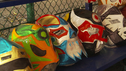 HD2009-11-5-34 wrestling masks Stock Video Footage
