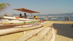 HD2009-11-7-3 fish skiff on beach Stock Video Footage