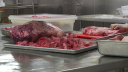 HD2009-11-9-8 food prep cutting meat Stock Video Footage