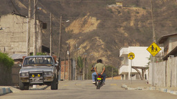 HD2009-11-13-9 motorcycle small village Ecuador Stock Video Footage