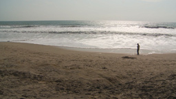 HD2009-11-13-13 boy on beach Ecuador Stock Video Footage