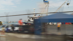HD2009-11-13-31 drive along docks ships Stock Video Footage