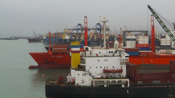 HD2009-11-14-19 cargo ships port Peru Stock Video Footage