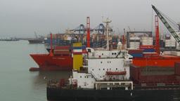 HD2009-11-14-19 cargo ships port Peru Stock Video Footage
