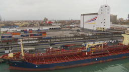 HD2009-11-14-29 cargo ship and trucks Stock Video Footage
