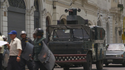 HD2009-11-15-42 protest march police armor car Stock Video Footage