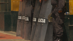 HD2009-11-16-5 police and riot shields Stock Video Footage