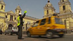 HD2009-11-16-11 traffic passes church Stock Video Footage