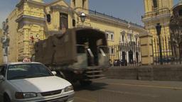HD2009-11-16-17 Peruvian army truck in traffic Stock Video Footage