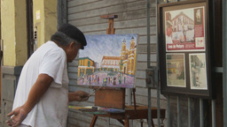 HD2009-11-16-23 an artist painting Stock Video Footage