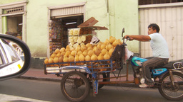HD2009-11-16-27 motorbike trike with fruit Stock Video Footage