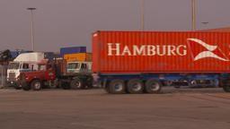 HD2009-11-16-39 containor trucks Stock Video Footage