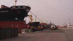 HD2009-11-16-41 cargo ships and trucks dock Footage