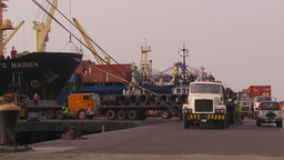HD2009-11-16-43 cargo ships and trucks dock Footage