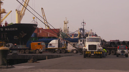 HD2009-11-16-43 cargo ships and trucks dock Stock Video Footage