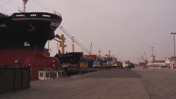 HD2009-11-16-45 cargo ships and trucks dock Footage
