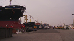 HD2009-11-16-45 cargo ships and trucks dock Stock Video Footage