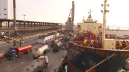 HD2009-11-16-49 cargo ships and trucks dock Footage
