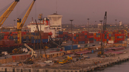 HD2009-11-17-10 sea containor port at sunset Stock Video Footage
