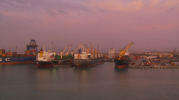 HD2009-11-17-12 ships in port at dusk Stock Video Footage