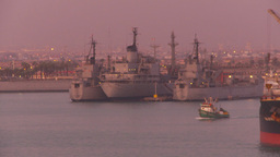 HD2009-11-17-14 navy ships at dusk Stock Video Footage