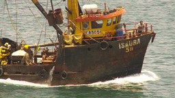 HD2009-11-18-4 fishing boat heading out to sea Stock Video Footage