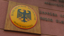 HD2009-11-18-28 German ambassy sign Footage