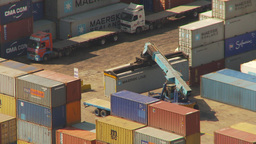 HD2009-11-18-44 Arica aerial containor port Stock Video Footage