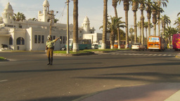 HD2009-11-18-58b Arica chilean police directs traffic Stock Video Footage