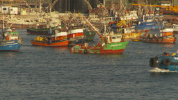 HD2009-11-19-2 tubboat passes fishingfleet Stock Video Footage