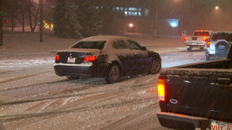 HD2009-11-24-10 snowstorm sliding cars Footage