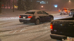 HD2009-11-24-10 snowstorm sliding cars Stock Video Footage
